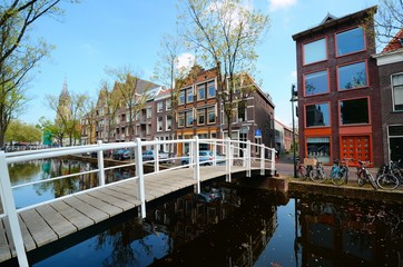 Bridge over the canals of Delft, Netherlands