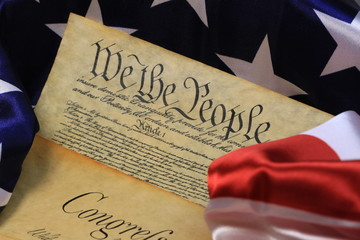 Historical Document US Constitution with America Flag