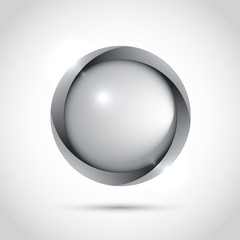 Grey blank button for your design. Vector icon
