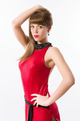Young woman in long red dress