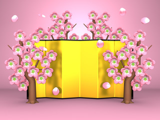 Cherry Blossoms And Gilt Folding Screen On Pink