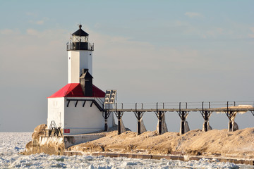 Indiana Lighthouse and Catwalk on Sunny Winter Day