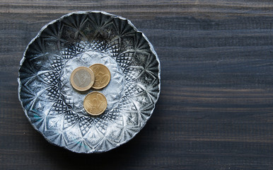 small textured metal plate with euro coins on a wooden
