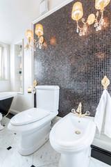 Crystal chandeliers in luxury toilet