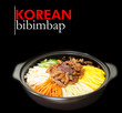 Korean beef bibimbap against black background with copy space