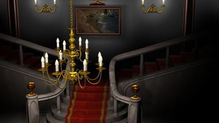 Mansion Hall at Night Animation