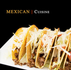 Mexican cuisine concept with a plate of beef tacos on dark backg