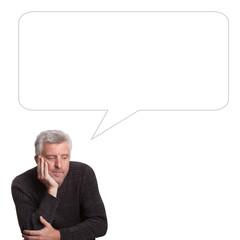 male elderly depression  with commentbubble