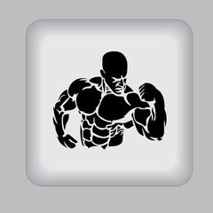 bodybuilding, icon, black, vector, illustration