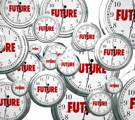 Future Word Clocks Moving Forward Tomorrow Next Progress