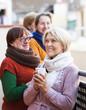 Mature women drinking tea