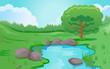 Leinwanddruck Bild - Pond or river scene image