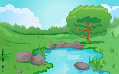 Pond or river scene image - 79374511