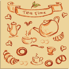 tea time , beautiful hand drawn illustration, Vector.