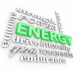 Energy 3d Word Collage Power Stamina Strength Drive Vitality