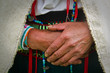 Leinwandbild Motiv Closeup of an indigenous woman's hands, Chimborazo, Ecuador