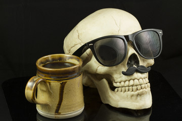 Hipster Skull and Coffee