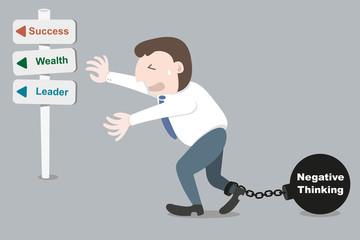 Businessman with trammel negative thinking