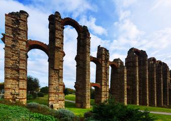 antique  Roman Aqueduct in Merida
