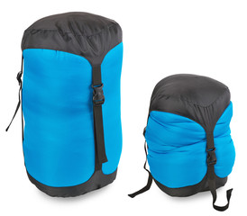 Tourist sleeping bag in a compression cover