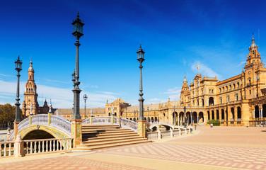 view of Plaza de Espana with bridges. Seville