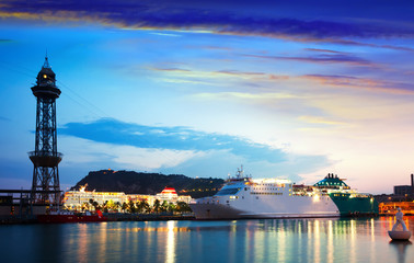 cruise liner at Port Vell in sundown
