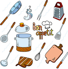 Hand drawn doodle sketch kitchen utensils for cooking Bon