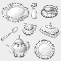 Hand drawn doodle sketch kitchen porcelain utensils, kitchenware