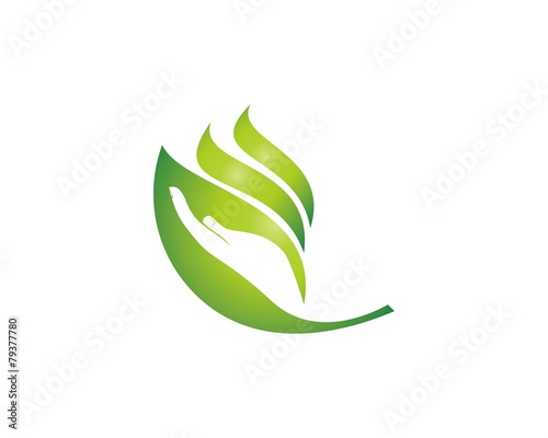 hand and leaf logo - 79377780