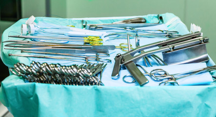 Surgical instruments in oparation room.