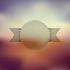 Transparent vintage badge with ribbon on blurred background