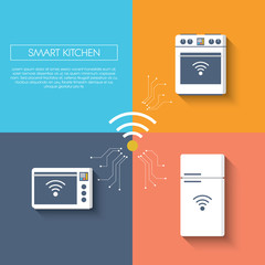 Internet of things smart kitchen concept with appliances