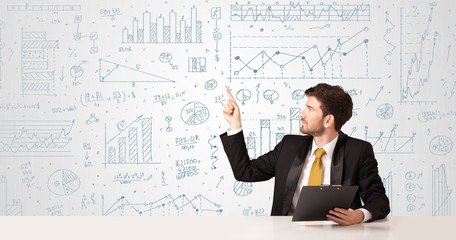 Businessman with diagram background