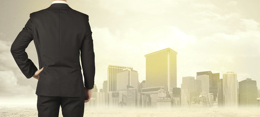 Businessman with city view