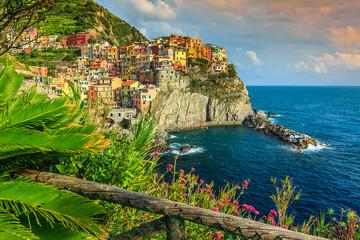 Manarola village on the Cinque Terre coast of Italy,Europe