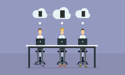 people business  working online  on cloud network connection