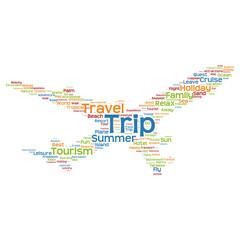Conceptual trip travel or tourism plane word cloud