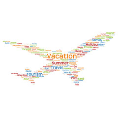 Conceptual vacation travel or tourism plane word cloud