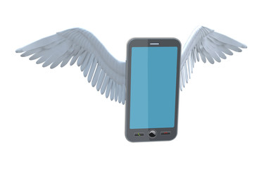 smartphone with bird wings is flying