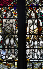 Adam and Eve in stained glass