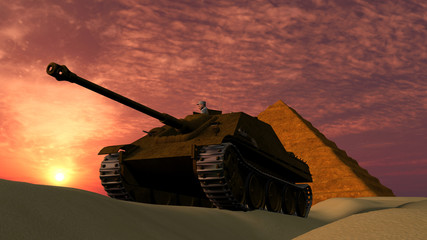 Old Tank at Sunset in Desert with Pyramid background