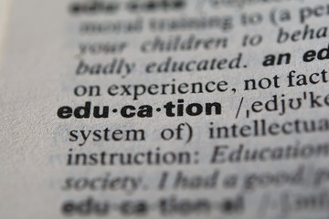 Definition of the word education, close up