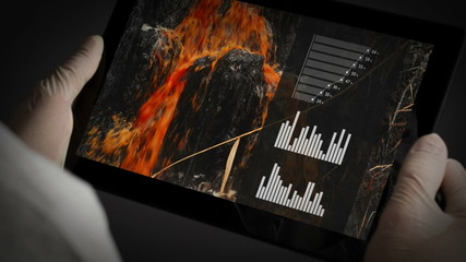 Chemical Scientist Analyzing Water Pollution Charts on Tablet