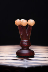 Chess black queen on the board