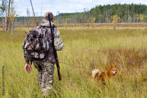 Fotobehang Jacht autumn hunting on the swamp