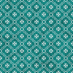 Teal and White Maltese Cross Symbol Tile Pattern Repeat Backgrou