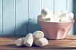 white marshmallows on wooden table
