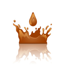 Chocolate splash crown with droplet and reflection, isolated on