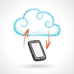 Cloud Computing Concept With Cellphone Vector Drawing