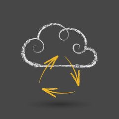 Cloud Computing Concept With Arrows Chalk Drawing